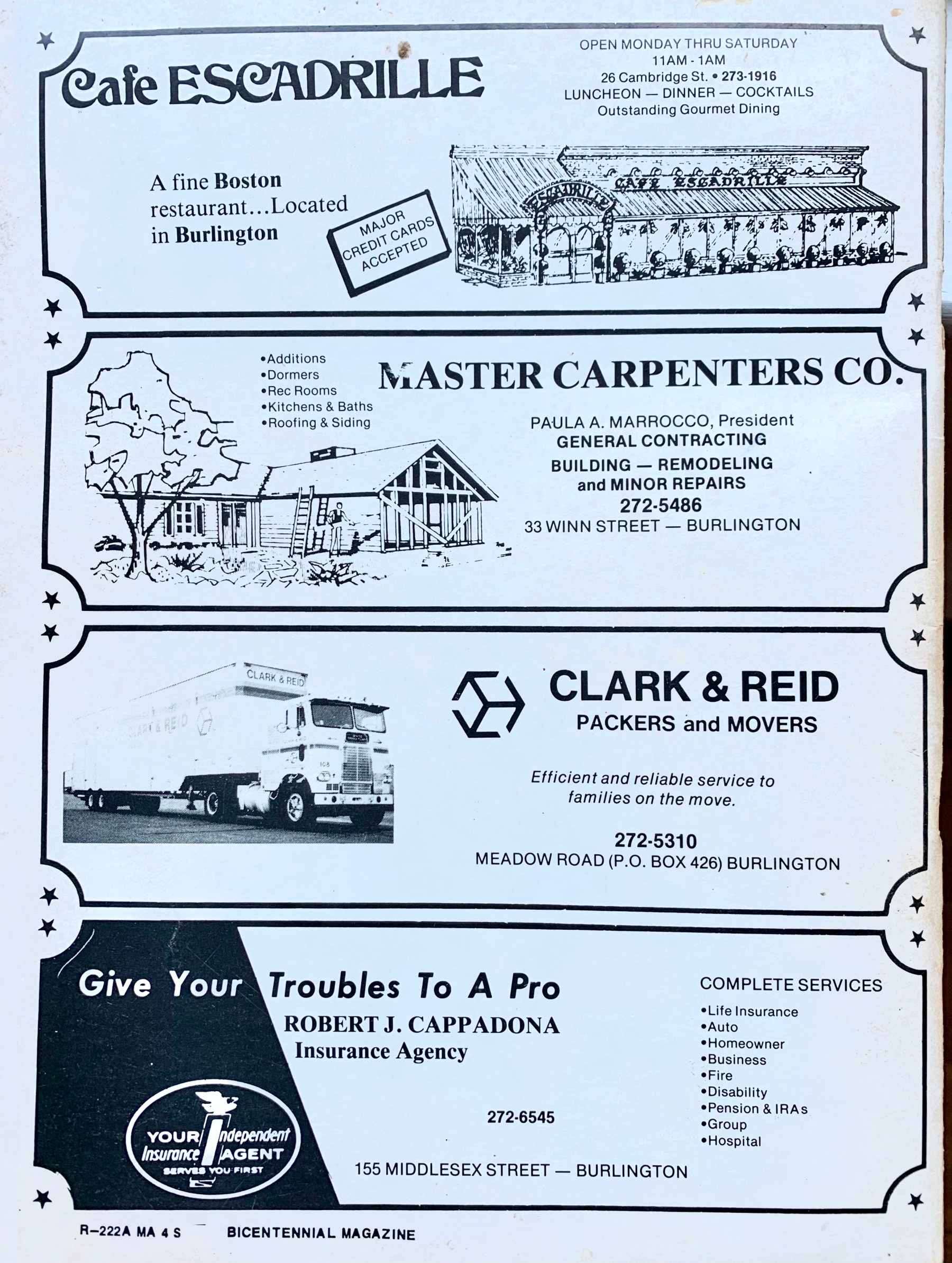 Burlington Bicentennial booklet back page, 1976 Burlington MA