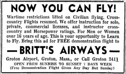 Britt's Airways ad 1944