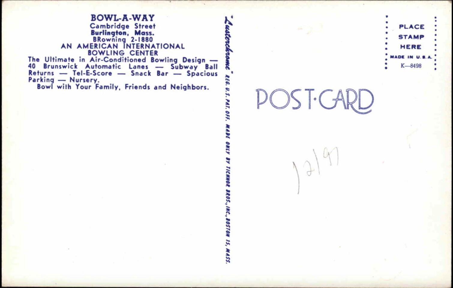 Bowl-A-Way Burlington, MA postcard reverse side