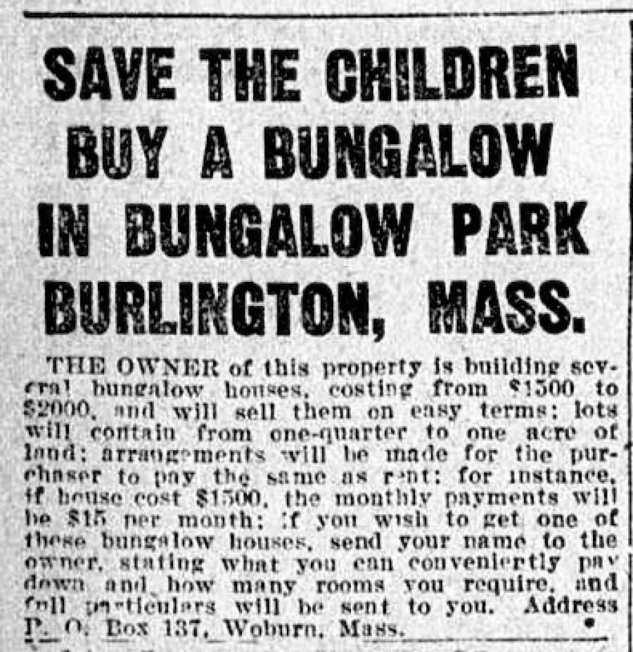 Bungalow Park Burlington ad 1921