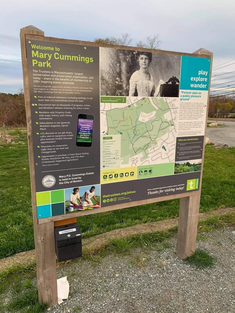 Mary Cummings Park sign