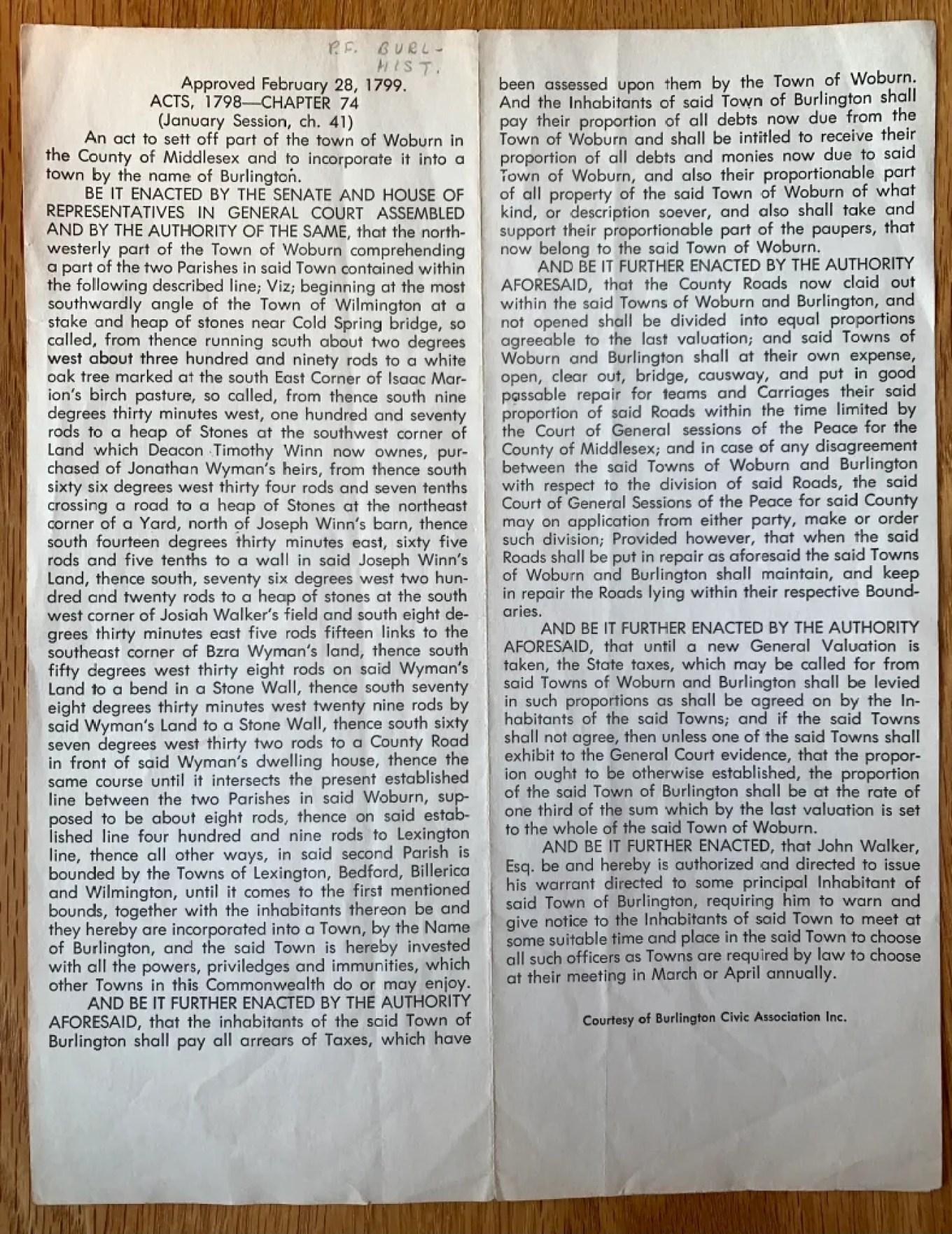 Burlington border markings 1799