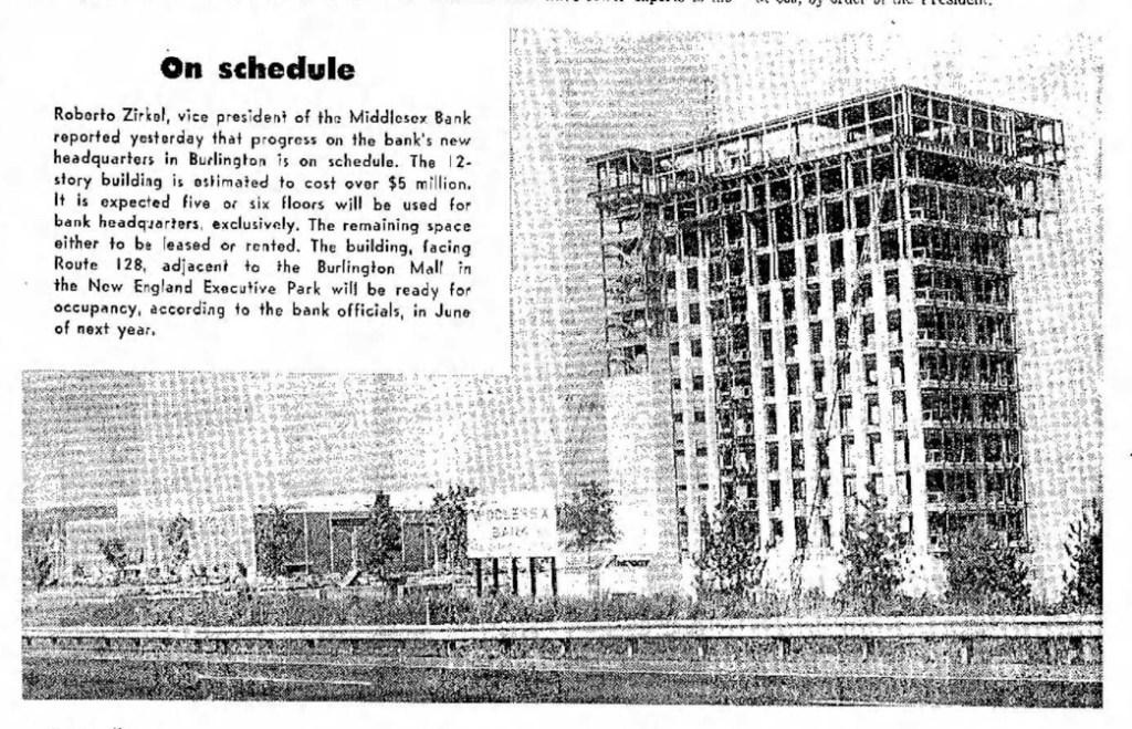 "Middlesex Bank ""skyscraper"" construction 1971 Burlington MA"