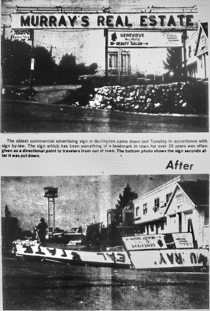 Murray's Real Estate sign coming down, Burlington, MA 1971