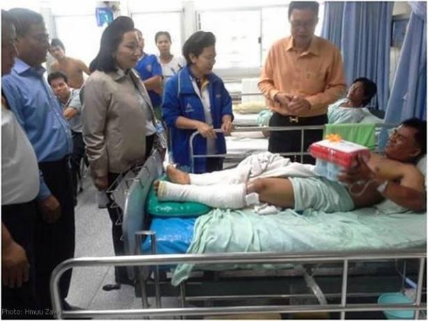 ဒဏ်ရာရမြန်မာအလုပ်သမားဆေးရုံတက်နေစဉ်(Internet)