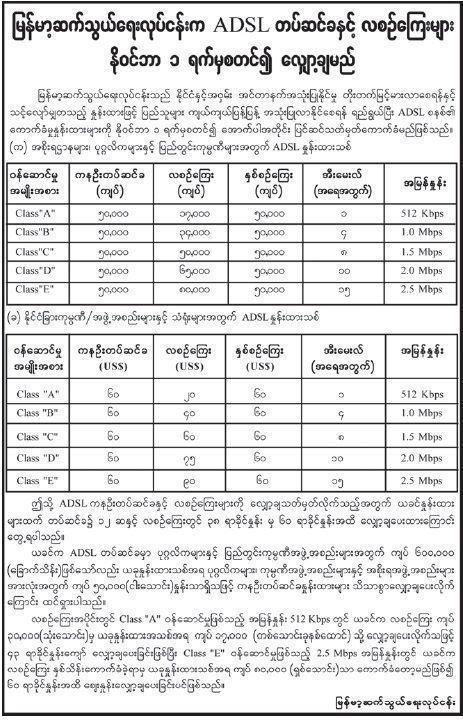 မြန်မာ့ဆက်သွယ်ရေးလုပ်ငန်း၏ ADSL လိုင်းနှုန်းထားများ(Copy)