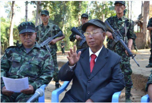 NSCN(K) chief SS Khaplang seen in this photo with other militants of the outfits in combat fatigues.(Pakistan Defence Website)