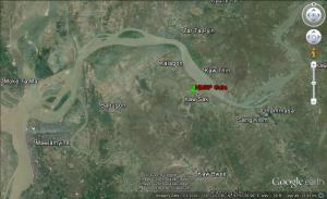 ကော့သပ်ကျေးရွာအနီးရှိမွန်ပြည်သစ်ပါတီဂိတ်(Google Earth)