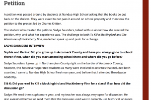 Screenshot of Interview page with Sadye