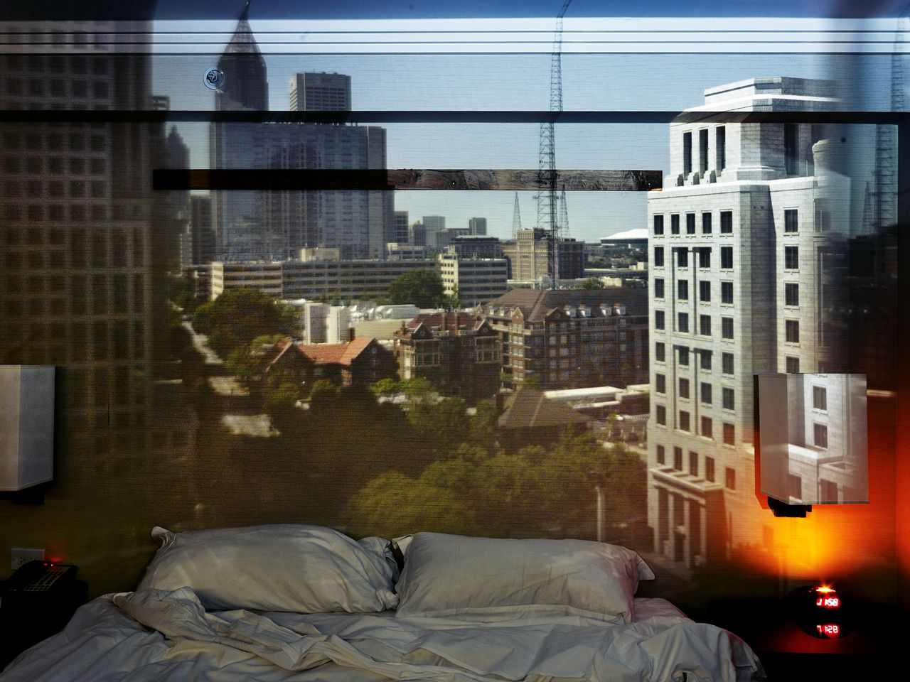 Abelardo Morell, Camera Obscurau2014View Of Atlanta Looking South Down  Peachtree Street In Hotel Room, 2013.