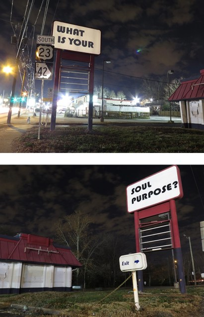 Views of Karen Tauches's 2012 work What Is Your Soul Purpose?, on Moreland Avenue just south of I-20.