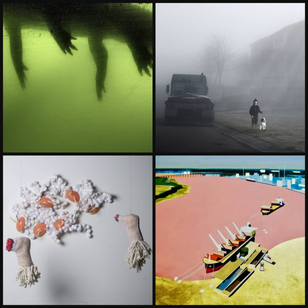 """Counterclockwise from left: Anastasia Samoylova, """"Alligator, from Flood Zone series;"""" Dominic Lippillo, """"Semi Truck;"""" Kate Hooray Osmond, """"Barbapapa;"""" and Meg Stein, """"Not Seeing What We Could Not See."""""""