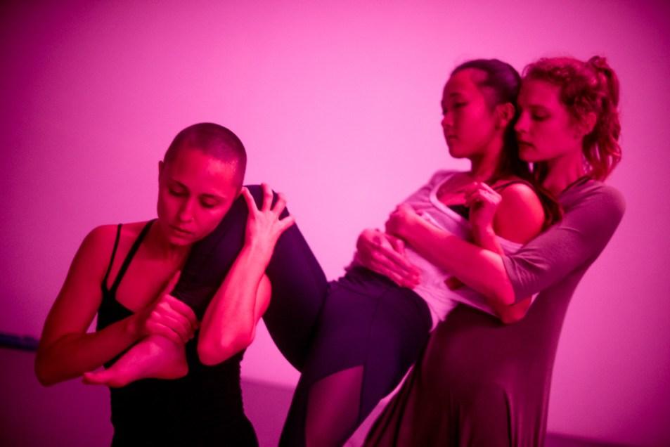 """Trap Study"" (Rehearsal shot at Work Room) performed by Bella Dorado, Emi Murata, and Jennifer Clark. Choreographed by Anicka Austin. Photographed by Alan Kimara Dixon."