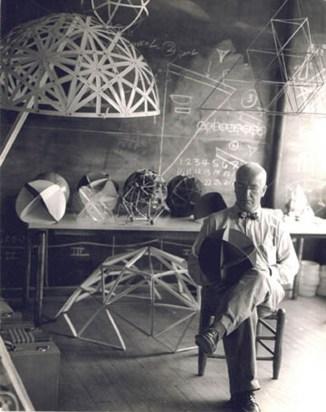 "Hazel Larsen Archer, R. Buckminster Fuller at Black Mountain College, summer 1948, vintage gelatin silver print, 9-1/2"" x 7-3/8"". Courtesy of the Estate of Hazel Larsen Archer and Black Mountain College Museum + Arts Center Collection."