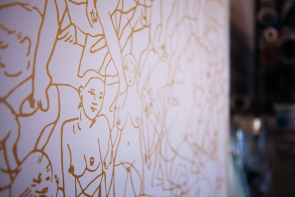 Detail of a wallpaper design at the New Hat Projects studio in Nashville. (Photo: Elizabeth Slayton Akin)