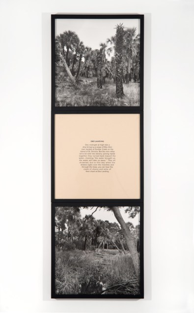 "Carrie Mae Weems, Sea Islands Series (ebo landing), 1992, 2 gelatin silver prints, 1 screen print text panel, edition of 10, each panel 20 by 20""; overall dimensions 60 x 20 inches. Courtesy of the artist and the Jack Shainman Gallery."