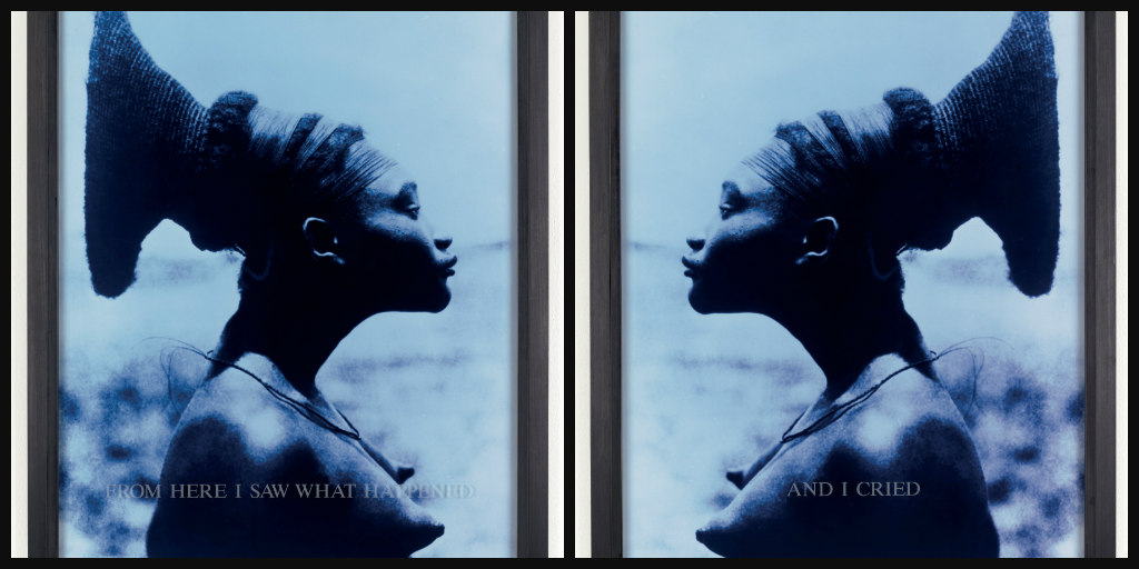 Carrie Mae Weems, From Here I Saw What Happened / And I Cried, 1995-1996. C-print with sandblasted text on glass. © Carrie Mae Weems. Courtesy of the artist and Jack Shainman Gallery, New York.