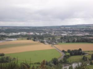 overlooking the village