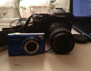 fuji compact camera and canon digital