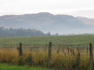 view across fields to the Ochils