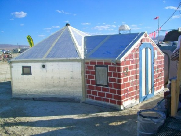 a tiny house and a hexyurt together