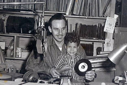 Johnny and Shuggie Otis in the KFOX studios c. 1956