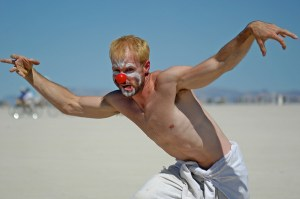 clown burning man