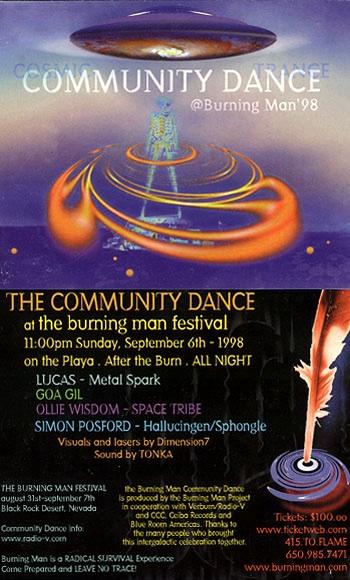 Burning Man flyer advertising DJs, 1998