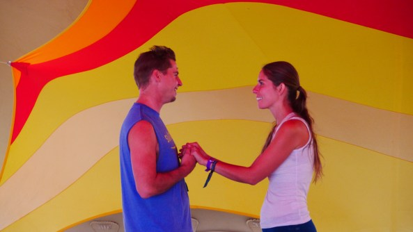 Zendo Project Manager Ryan Beauregard and Zendo Project Director Sara Gael performing a skit about harm reduction at Symbiosis Gathering in Oakdale, California (2016)