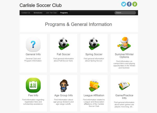 Carlisle Soccer Club - nonprofit web hosting Iowa