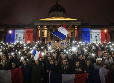 Mass gathering in Paris after terrorist attack in January 2015