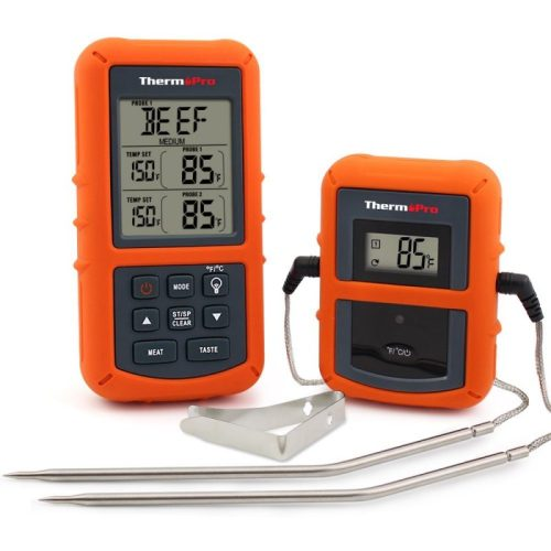 Monitor the temperature of your meat without having to open the barbecue lid with a ThermoPro digital thermometer. Read more in our must-have barbecue accessories article...