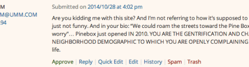 Not the best comment we've gotten, but also not the worst