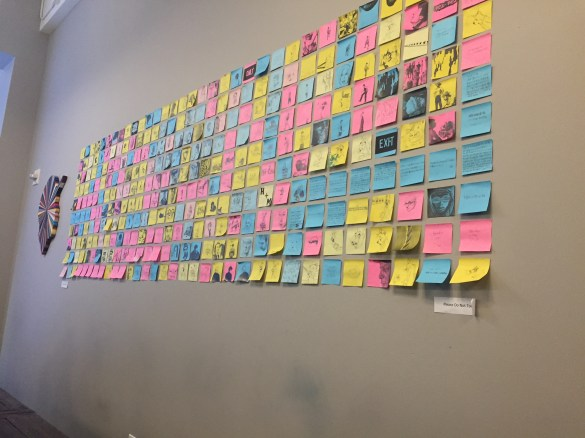 The latest Post-It art to hit the coffee shop's walls