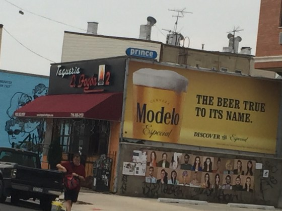 Modelo paid blood money to advertise on the side of Taqueria El Fogon 2