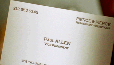 Paul Allen (or Paul Owen, as he's named in the novel) is the colleague who inspires jealousy within Bateman for his bone business card