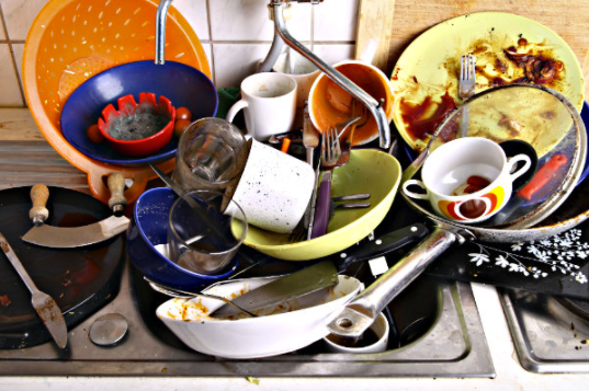 Dishes can get very dirty, leading to dirty thoughts and acts