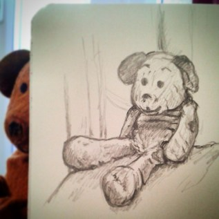 27/365. Youngest's very well worn but always loyal teddy. Still rockin' after all these years. Pencil. Notebook: Zebulon. https://instagram.com/p/qHJFBvnyyL/