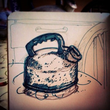 30/365. From Monday. Ye Olde Stove Kettle. Had some trouble with the base of it there. Terrible business. Pencil and fountain pen. Notebook: Zebulon. https://instagram.com/p/qMODv5Hyy7/