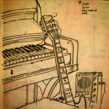 128/365 Piano, Guitar, Drum-machine, Stool. 20 mins Pencil and Uniball Eye Micro. Notebook: Myrtle.