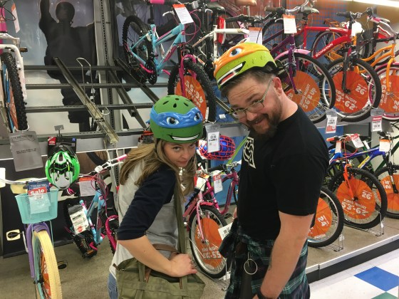 Trying on helmets. All sass.
