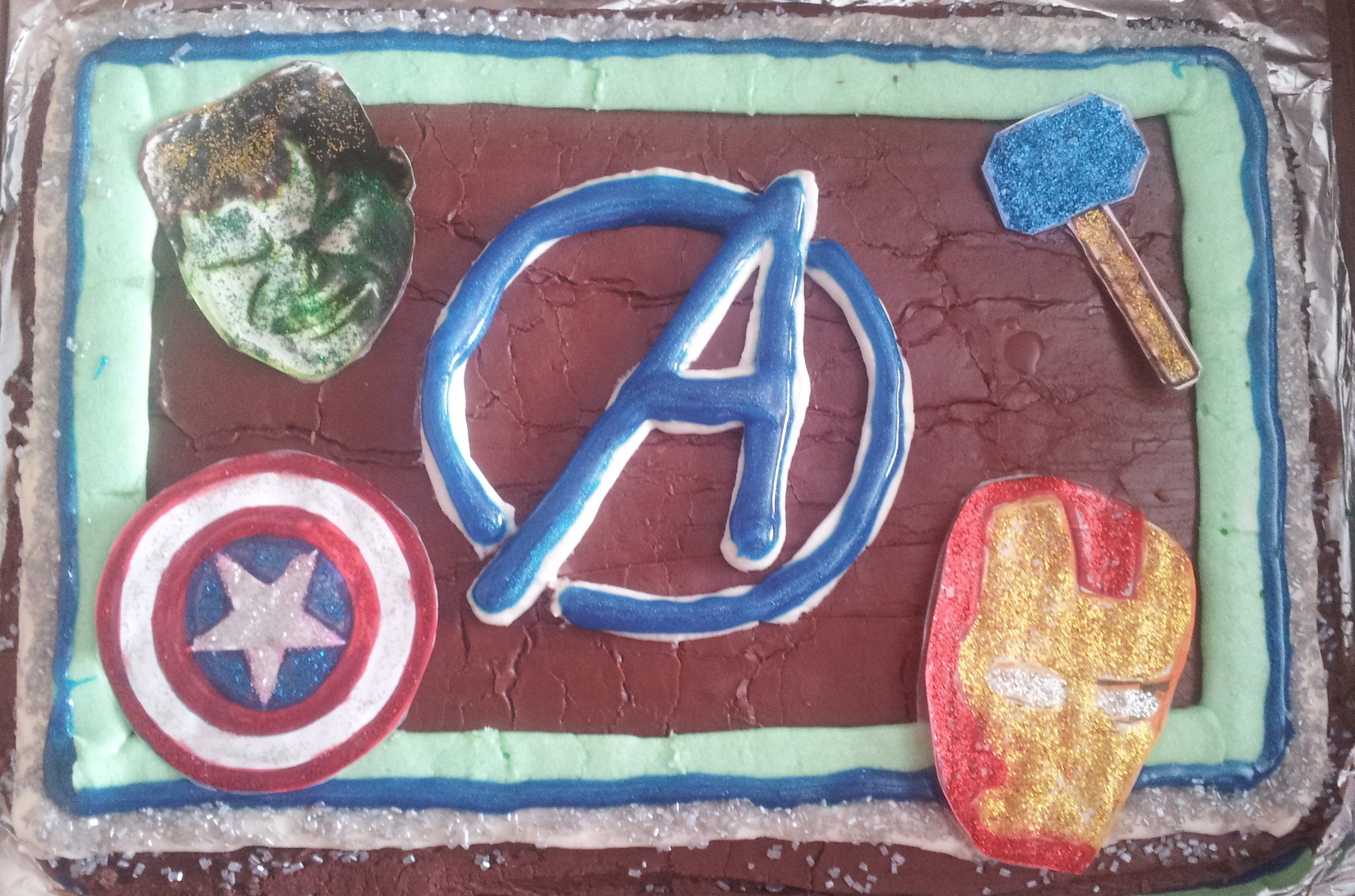 Easy Avengers Birthday Cake with Carvel Crunchie Center Burnt Apple