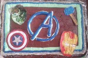 Easy Avengers Birthday Cake with Carvel Crunchie Center