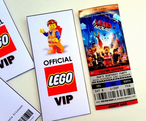 lego movie ticket birthday invitations