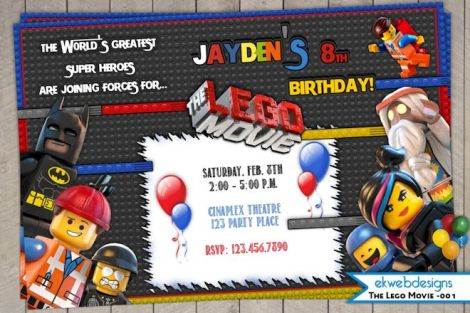 lego movie birthday party invitation