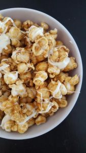 Apple Cider Caramel Popcorn with White Chocolate Drizzle