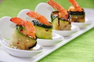 Grilled Zucchini Wrapped Shrimp