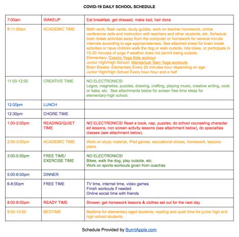 quarantine online home schedule