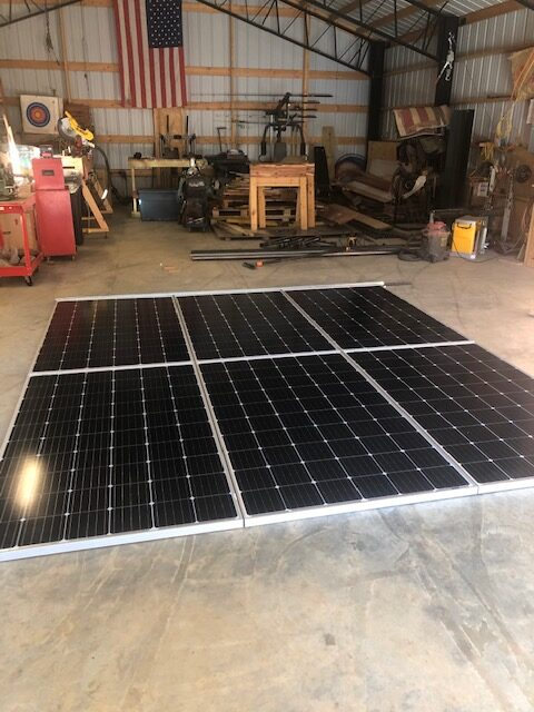 Working on laying out the solar panels.