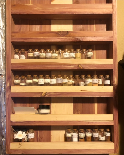 A cedar cabinet to hold the wife's pigment powders.